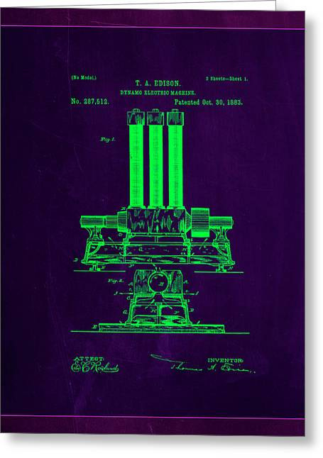 Dynamo Electric Machine Patent Drawing 1b Greeting Card by Brian Reaves