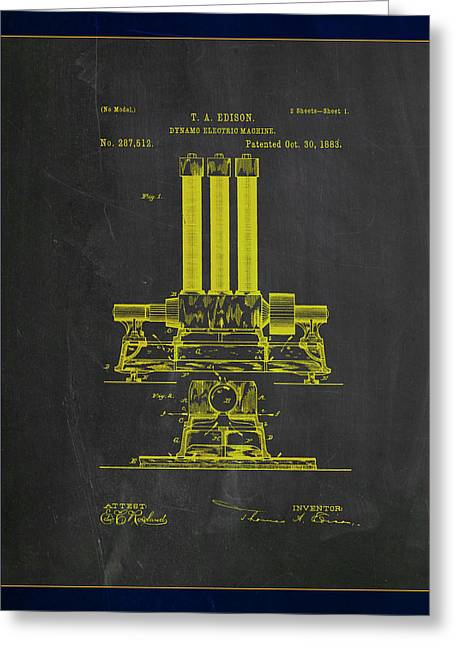 Dynamo Electric Machine Patent Drawing 1c Greeting Card by Brian Reaves