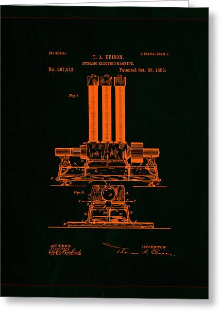 Dynamo Electric Machine Patent Drawing 1f Greeting Card by Brian Reaves