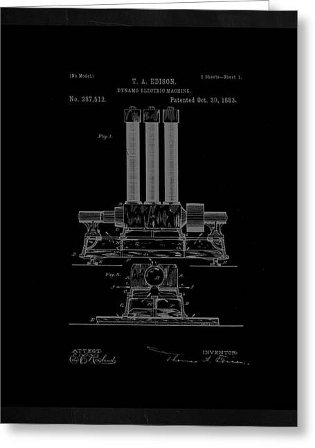 Dynamo Electric Machine Patent Drawing 1h Greeting Card by Brian Reaves