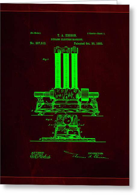 Dynamo Electric Machine Patent Drawing 1i Greeting Card by Brian Reaves