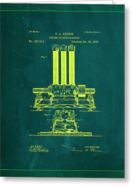 Dynamo Electric Machine Patent Drawing 1k Greeting Card by Brian Reaves