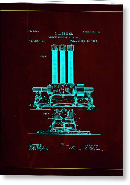 Dynamo Electric Machine Patent Drawing 1l Greeting Card by Brian Reaves