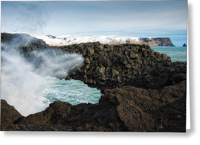 Greeting Card featuring the photograph Dyrholaey Rock Arch Iceland by Matthias Hauser