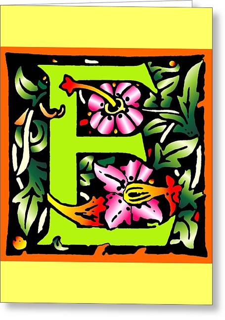 E In Green Greeting Card by Kathleen Sepulveda