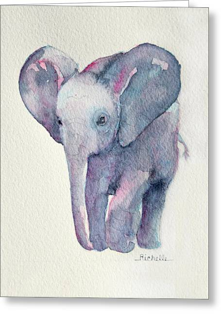 E Is For Elephant Greeting Card by Richelle Siska