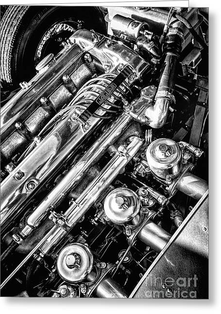 E Type Engine Greeting Card by Tim Gainey