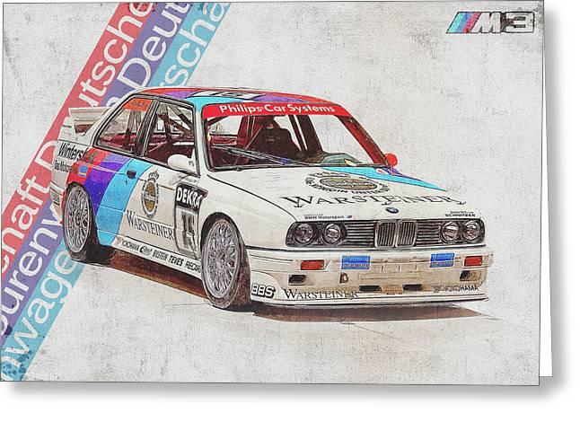 E30 Bmw M3 - Bmw M3 - Bmw - M3 - Bmw Art - Bmw Poster - Bmw Gifts - Bmw Prints - Car Poster - Racing Greeting Card