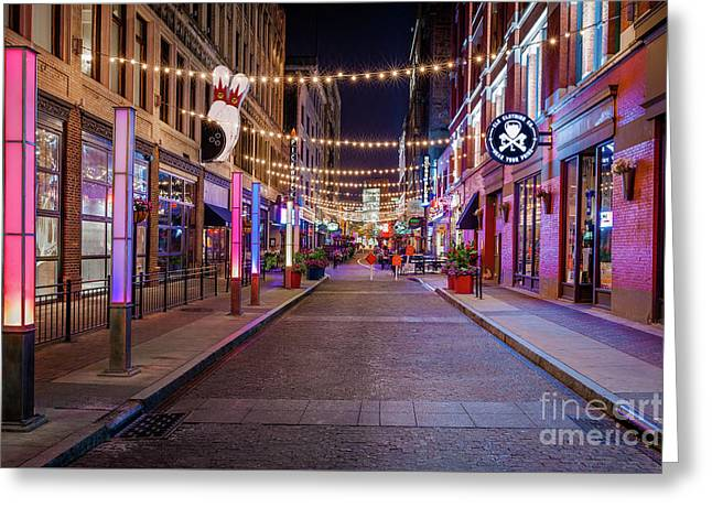 E.4th Lights Cleveland Greeting Card