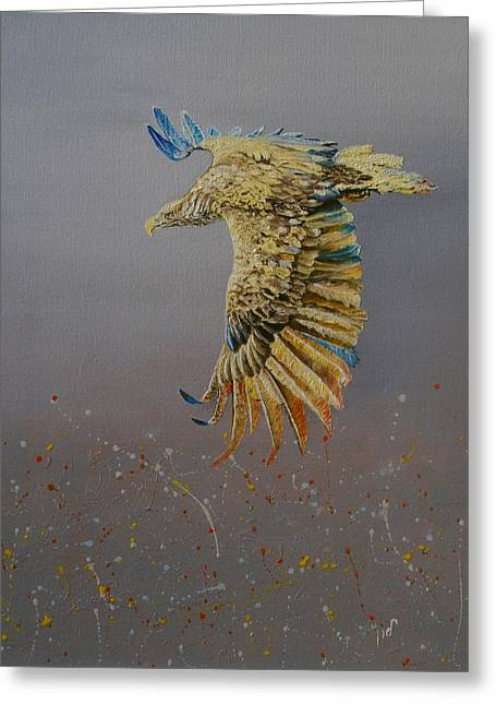Eagle-abstract Greeting Card by Maria Woithofer