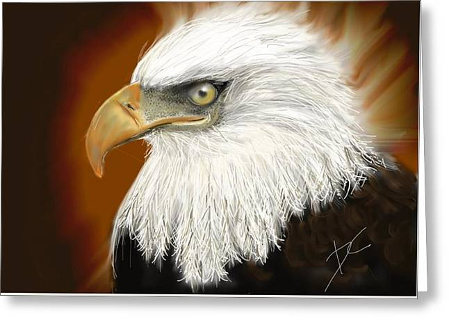 Greeting Card featuring the digital art Eagle American by Darren Cannell