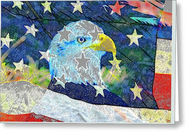 Greeting Card featuring the digital art Eagle Americana by David Lee Thompson
