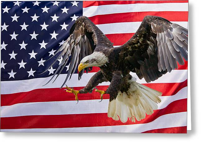 Eagle And Flag Greeting Card by Scott Carruthers