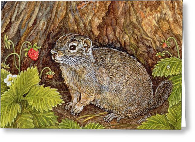 Eagle Creek Wild Strawberry Ground Squirrel Greeting Card by Ditz