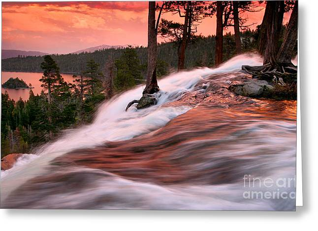 Eagle Falls Evening Greeting Card by Buck Forester