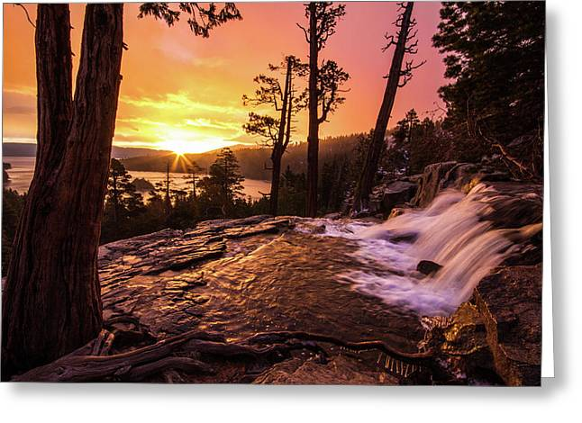 Greeting Card featuring the photograph Eagle Falls Sunrise by Wesley Aston