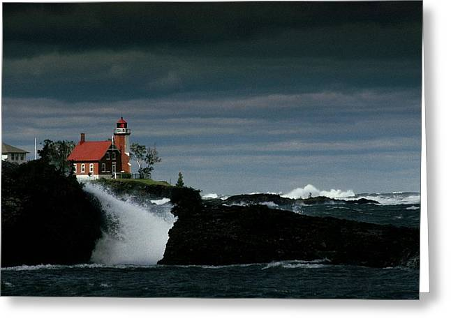 Eagle Harbor Lighthouse In Gale Force Greeting Card by Medford Taylor