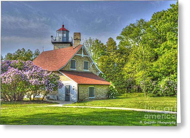 Eagle Bluff Lighthouse Greeting Card by Mike Griffiths