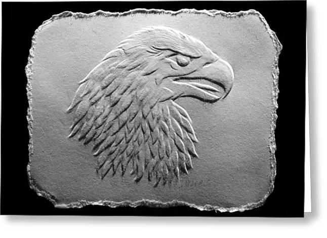 Greeting Card featuring the relief Eagle Head Relief Drawing by Suhas Tavkar