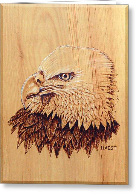 Greeting Card featuring the pyrography Eagle Img 2 by Ron Haist