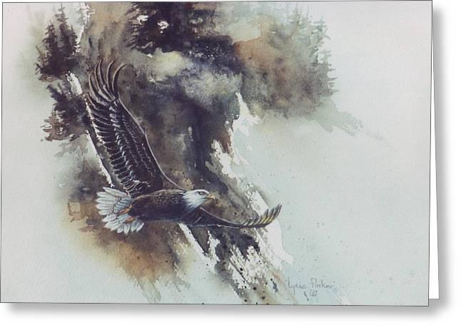 Eagle In Flight Greeting Card by Lynne Parker