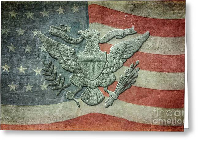 Greeting Card featuring the digital art Eagle On American Flag by Randy Steele