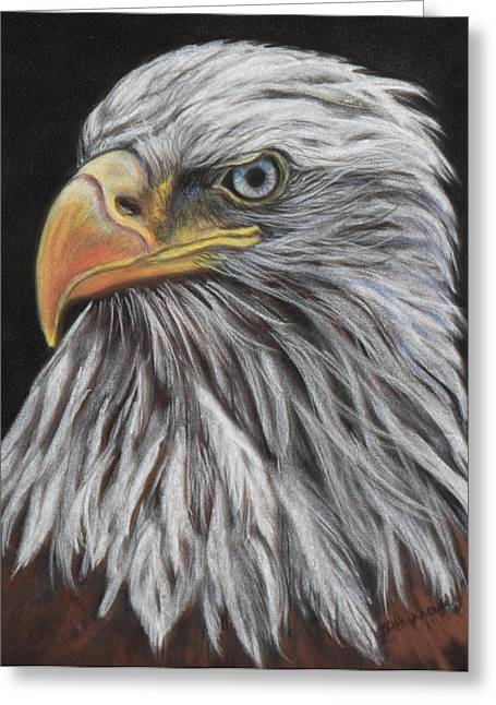 Bald Eagle Pastels Greeting Cards - Eagle Profile Greeting Card by Tracey Hunnewell
