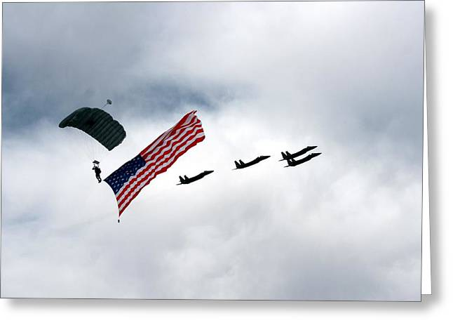 Eagle Salute Greeting Card by Michael Courtney