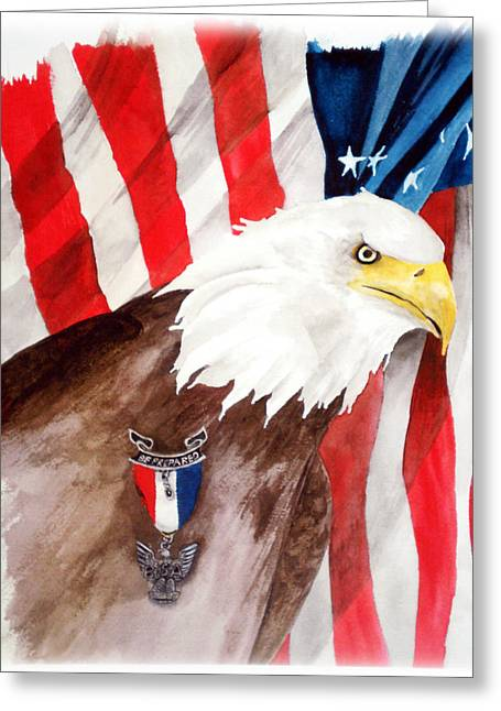 Eagle Scout Greeting Card by Rosalea Greenwood