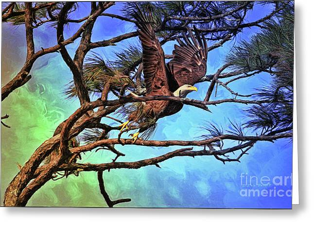 Greeting Card featuring the painting Eagle Series 2 by Deborah Benoit