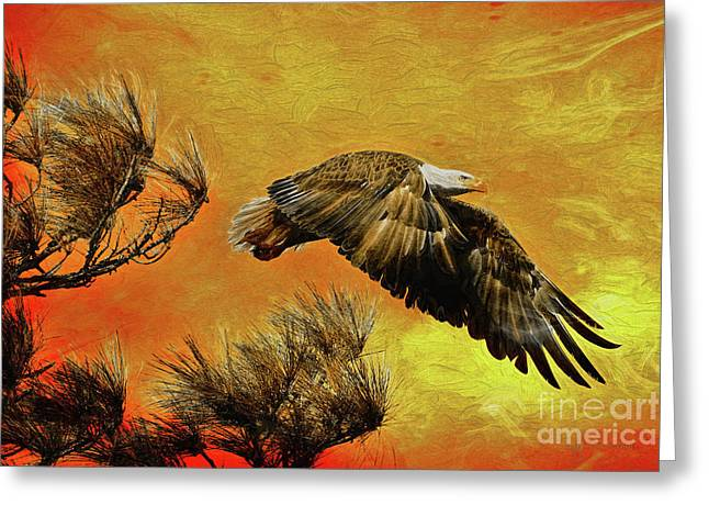 Greeting Card featuring the painting Eagle Series Strength by Deborah Benoit