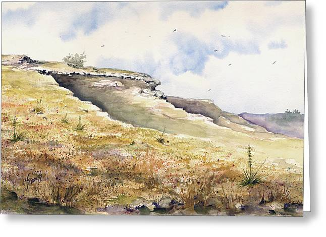 Formation Paintings Greeting Cards - Eagles Beak Ridge Greeting Card by Sam Sidders