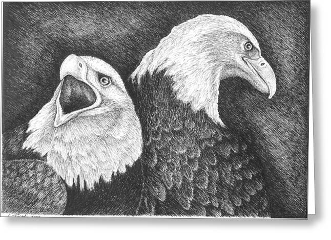 Eagles In Ink Greeting Card