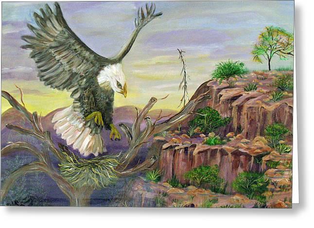 Eagles Nest Greeting Card by Mikki Alhart