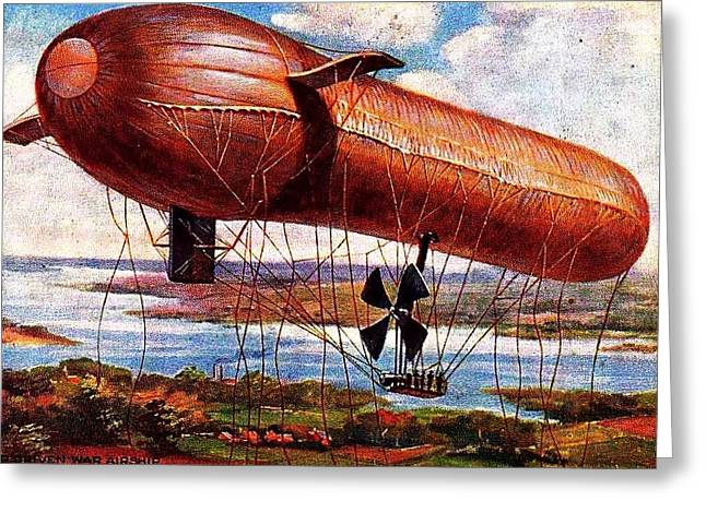 Early 1900s Military Airship Greeting Card by Peter Gumaer Ogden