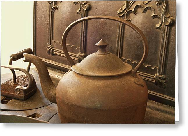 Early American Tea Pot Greeting Card by Michael Peychich