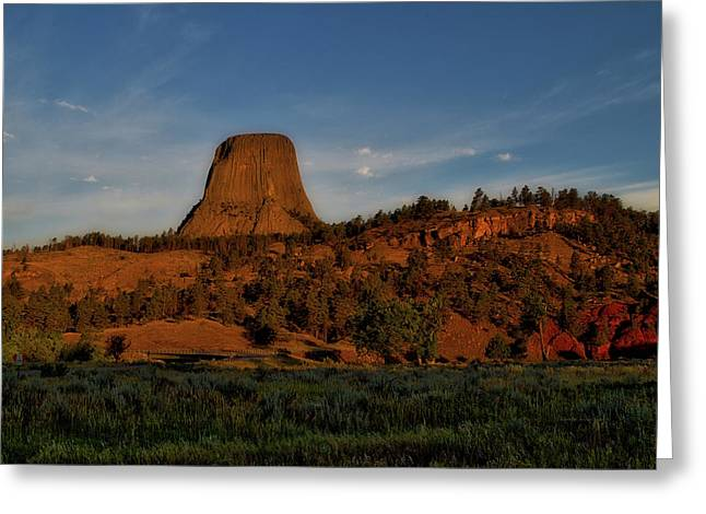 Early August Light Devils Tower Wyoming 02 Greeting Card by Thomas Woolworth