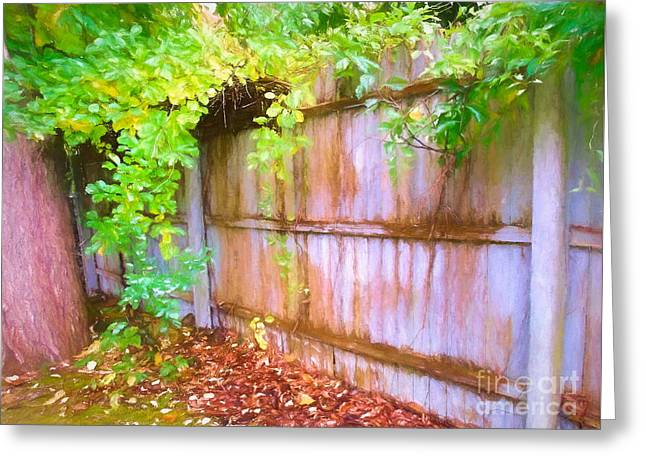 Early Autumn Fence And Vines Greeting Card