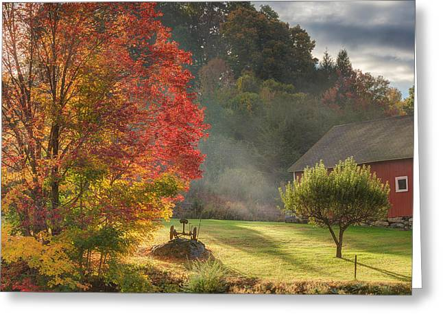 Early Autumn Morning Square Greeting Card by Bill Wakeley