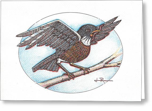 Early Bird, Alighting Greeting Card by Jim Rehlin