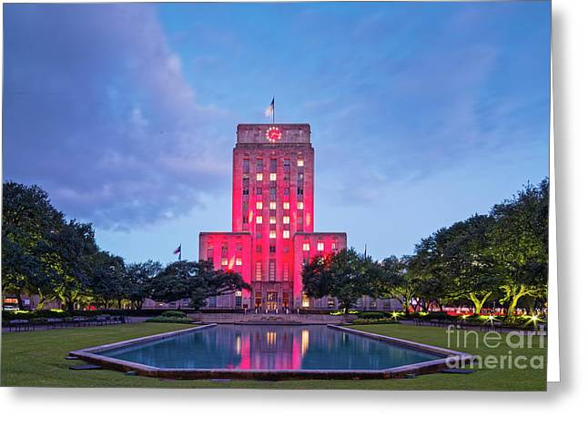 Early Dawn Architectural Photograph Of Houston City Hall And Hermann Square - Downtown Houston Texas Greeting Card