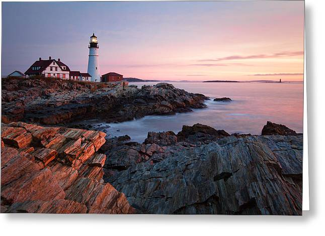 Early Dawn At Portland Head Lighthouse Greeting Card by Eric Gendron
