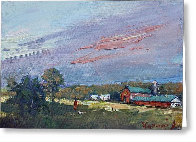 Early Evening At Phil's Farm Greeting Card by Ylli Haruni