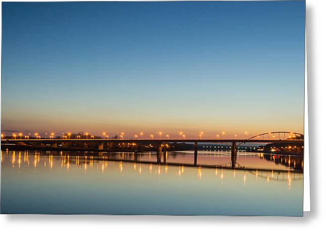 Early Evening Bridge At Sunset Greeting Card by John Williams