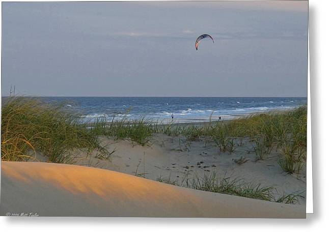 Early Evening Kite Surfing Greeting Card by Matt Taylor