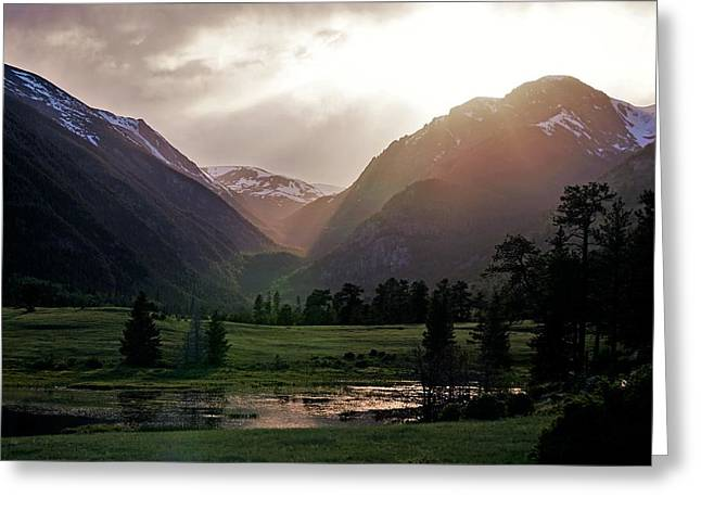 Early Evening Light In The Valley Greeting Card