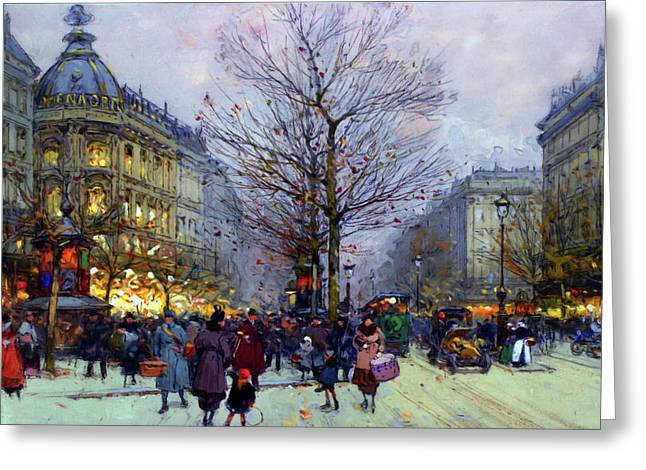 Early Evening On The Boulevards Paris Greeting Card