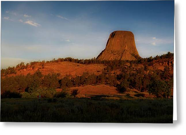 Early Light Devils Tower Wyoming Panorama 01 Greeting Card by Thomas Woolworth