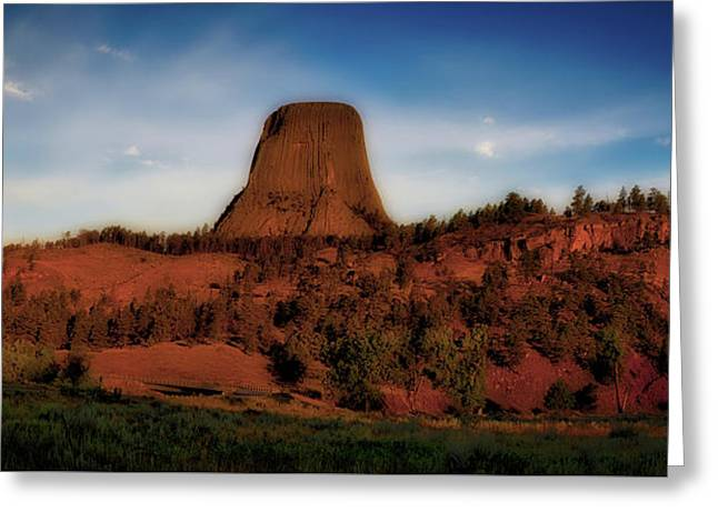 Early Light Devils Tower Wyoming Panorama 03 Greeting Card by Thomas Woolworth