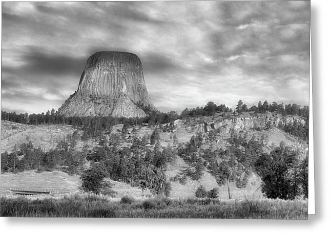 Early Light Devils Tower Wyoming Panorama Bw Greeting Card by Thomas Woolworth
